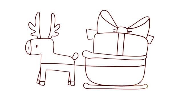 圣诞麋鹿车简笔画画法 动物-第5张