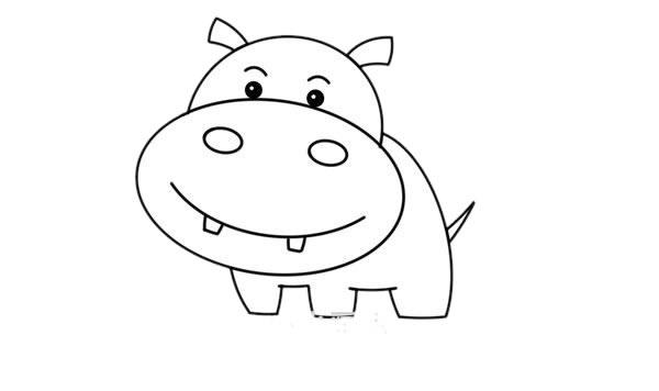 卡通河马简笔画,彩色q版河马简笔画 初级简笔画教程-第4张