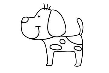 一步一步学画小狗简笔画 初级简笔画教程-第2张