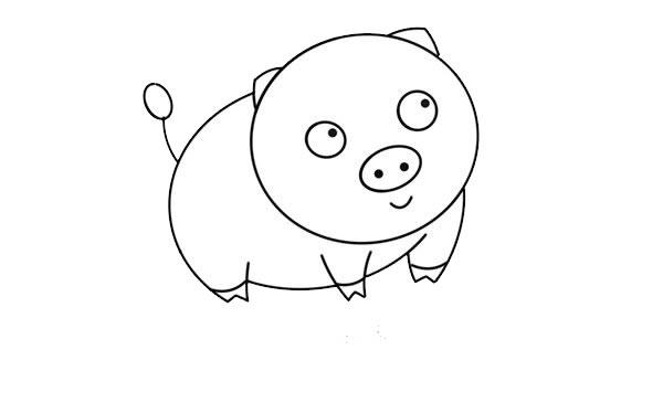 呆萌小猪简笔画图片 中级简笔画教程-第5张