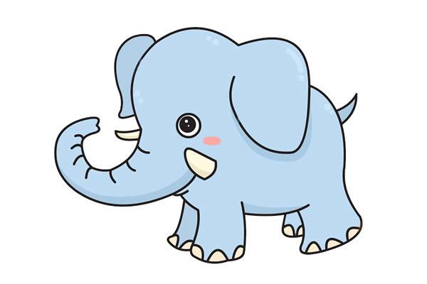 大象怎么画最简单 卡通大象简笔画步骤教程 动物-第1张
