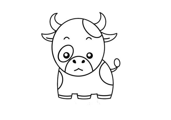 卡通奶牛简笔画,奶牛儿童画图片 中级简笔画教程-第6张