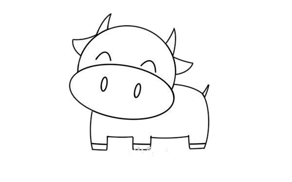 卡通奶牛简笔画 奶牛简笔画步骤图片教程 中级简笔画教程-第4张