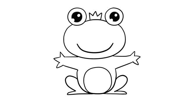 青蛙王子简笔画彩色图片 动物-第7张