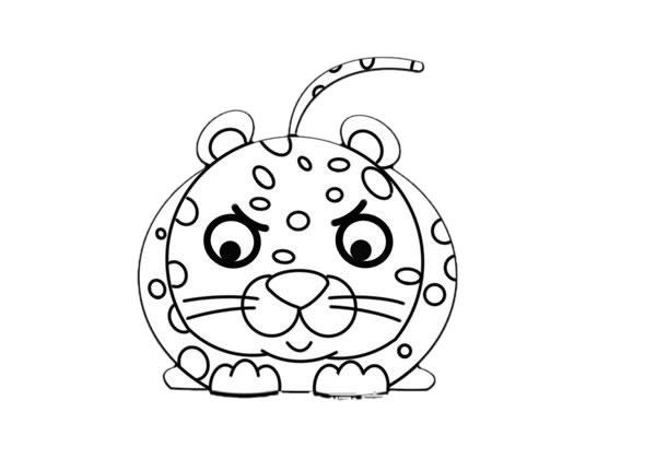 卡通q版花豹简笔画,猎豹简笔画 中级简笔画教程-第6张