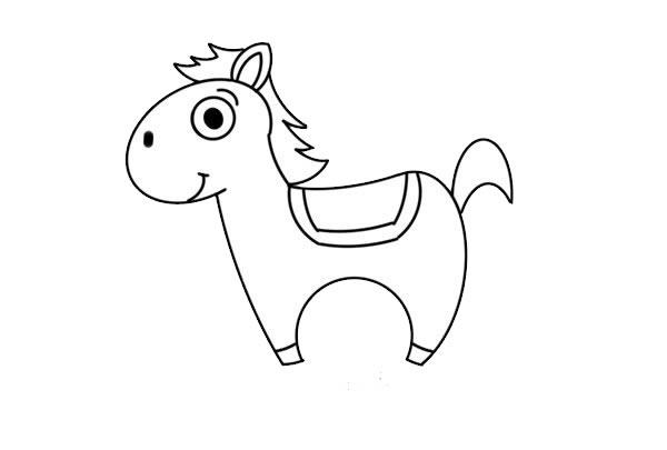 卡通小马简笔画图片彩色画法 中级简笔画教程-第6张