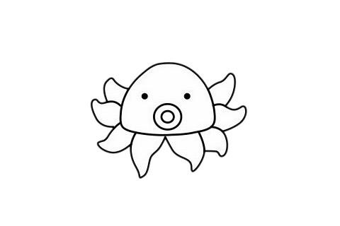 简单又漂亮的章鱼怎么画 初级简笔画教程-第1张