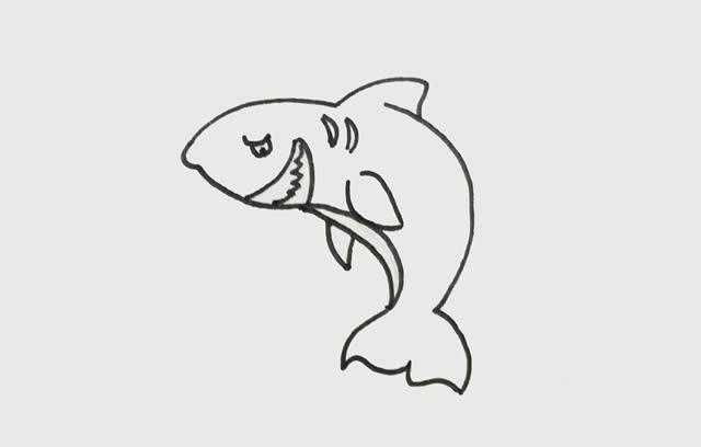 巨齿鲨简笔画_凶猛的巨齿鲨简笔画步骤画法步骤图片 动物-第4张