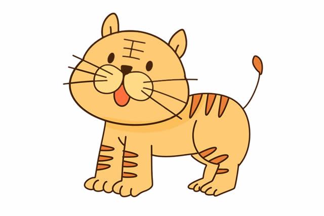 简单易学的小老虎儿童简笔画 中级简笔画教程-第2张