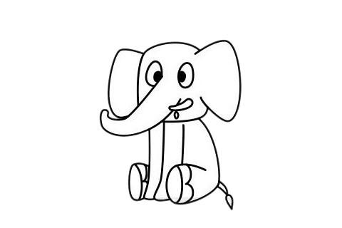 大象怎么画最简单,大象简笔画 初级简笔画教程-第8张