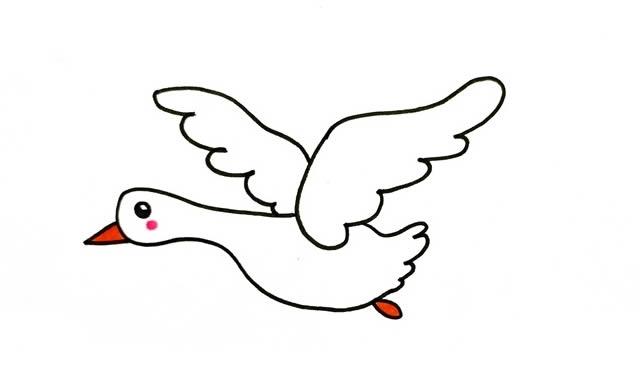 大雁简笔画画法步骤步骤图片教程 动物-第1张