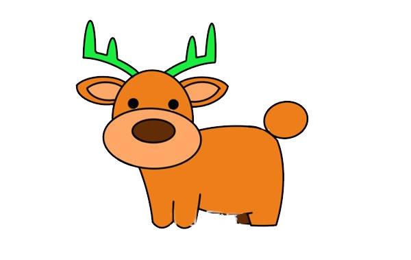 驯鹿怎么画简朴又悦目 驯鹿简笔画步骤画法教程 中级简笔画教程-第1张