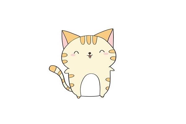 卡通猫咪简笔画步骤图解 中级简笔画教程-第1张