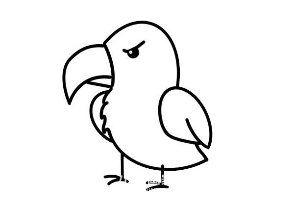 凶恶的卡通老鹰简笔画画法步骤步骤图片 动物-第5张