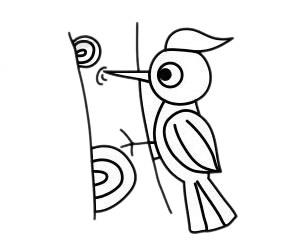 啄木鸟怎么画,儿童简笔画啄木鸟画法 中级简笔画教程-第2张