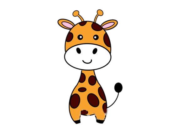 彩色长颈鹿儿童简笔画画法 中级简笔画教程-第1张