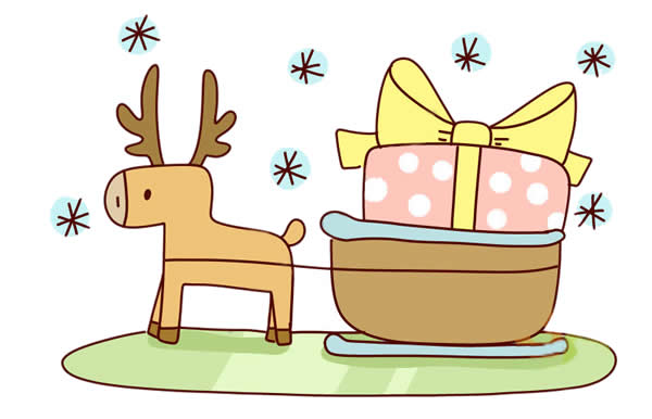 圣诞麋鹿车简笔画画法 动物-第1张