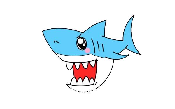 凶狠的鲨鱼简笔画画法步骤 中级简笔画教程-第1张