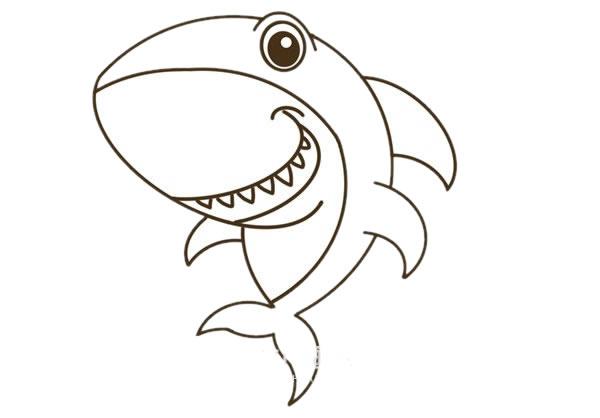 卡通鲨鱼简笔画彩色图片教程 中级简笔画教程-第7张