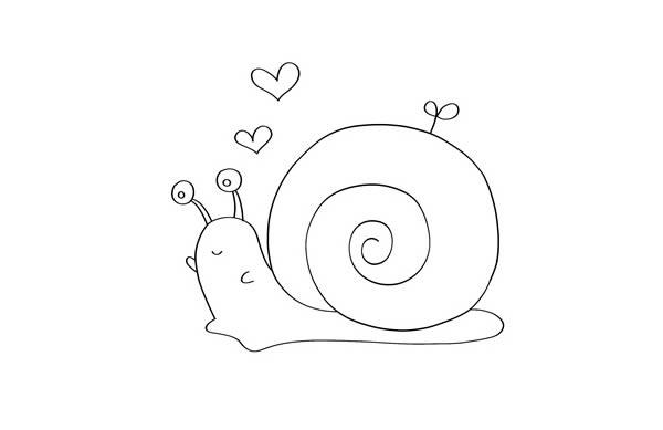 彩色卡通蜗牛简笔画步骤 中级简笔画教程-第3张