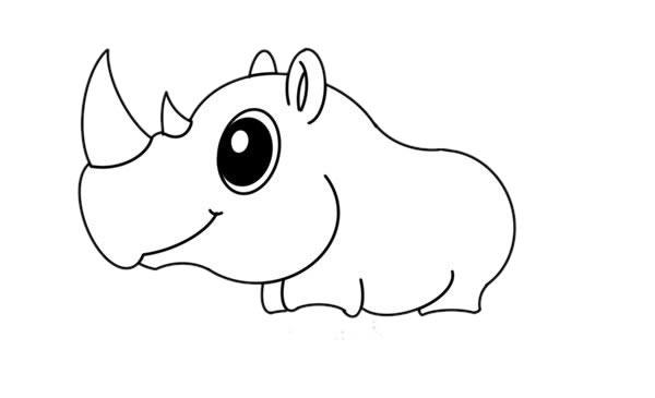 犀牛简笔画彩色画法教程 初级简笔画教程-第5张