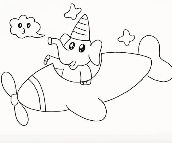 开飞机的大象简笔画 中级简笔画教程-第12张