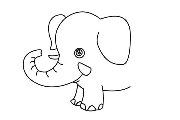 大象怎么画最简单 卡通大象简笔画步骤教程 动物-第4张