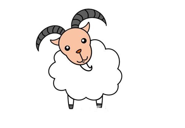 山羊简笔画,彩色山羊简笔画画法 初级简笔画教程-第1张