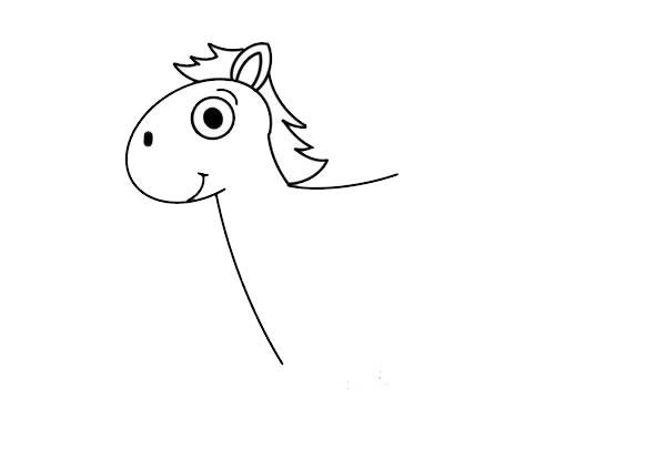 卡通小马简笔画图片彩色画法 中级简笔画教程-第4张