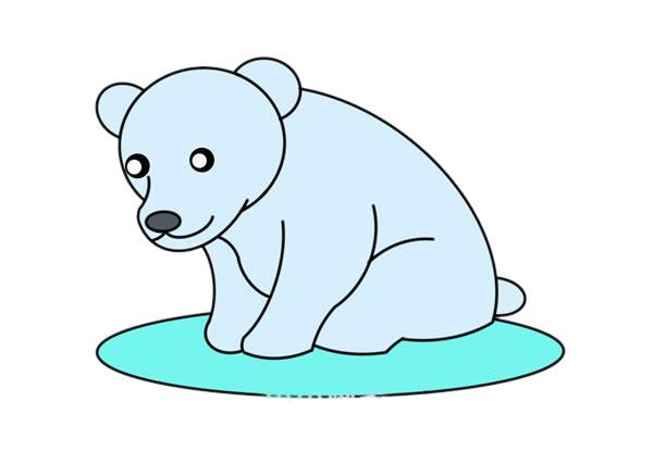 北极熊怎么画简朴又悦目 可爱北极熊简笔画 中级简笔画教程-第1张