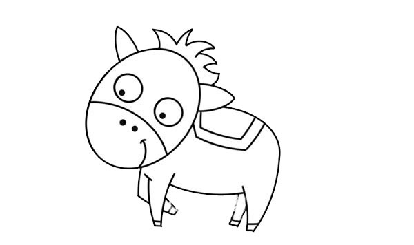 可爱卡通马简笔画 卡通马简笔画步骤图解教程 中级简笔画教程-第5张