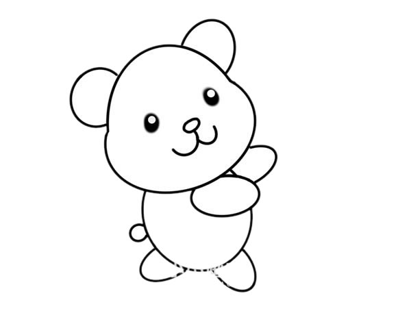 玩具小熊怎么画,小熊简笔画 中级简笔画教程-第5张
