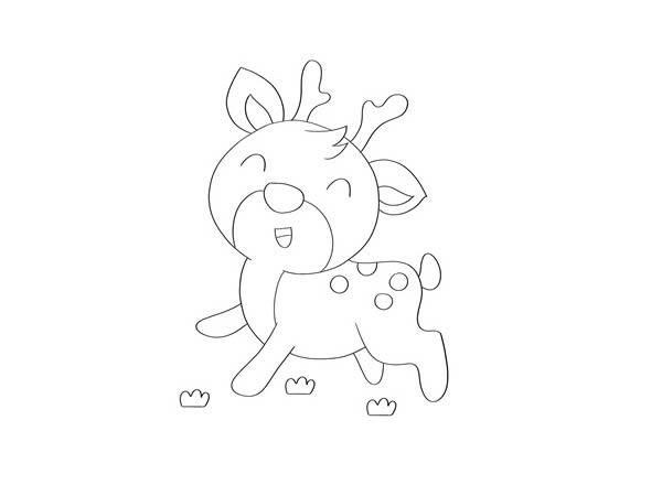 小鹿简笔画彩色 可爱小鹿简笔画步骤图片教程 中级简笔画教程-第3张