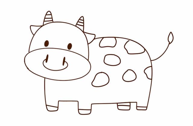 奶牛简笔画彩色图片 中级简笔画教程-第2张