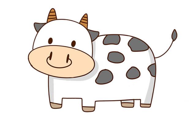 奶牛简笔画彩色图片 中级简笔画教程-第1张