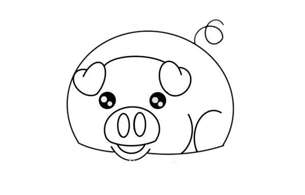 卡通小香猪简笔画步骤图解教程 中级简笔画教程-第4张