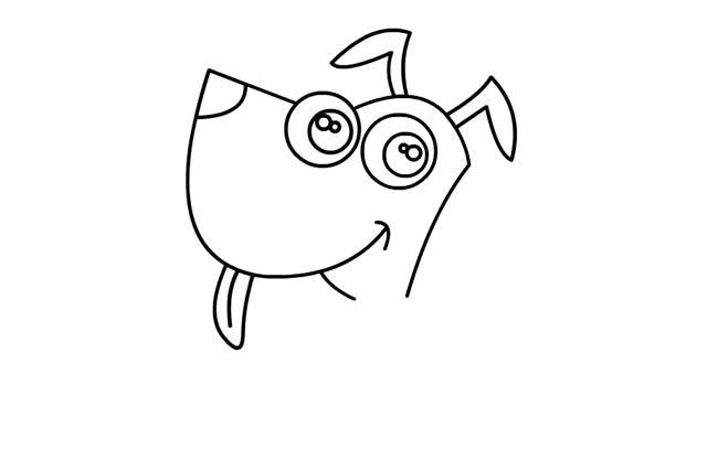 卡通小狗简笔画画法步骤步骤图片教程 动物-第3张