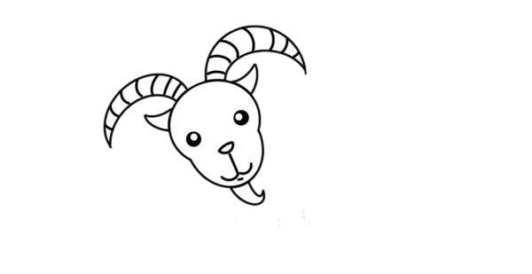 山羊简笔画,彩色山羊简笔画画法 初级简笔画教程-第4张