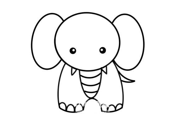 大象儿童简笔画画法 初级简笔画教程-第5张