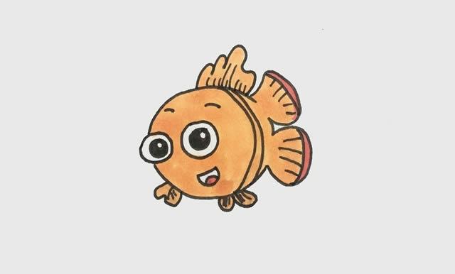 小丑鱼简笔画彩色可爱步骤图片 动物-第4张