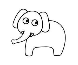 大象怎么画最简单,大象简笔画 初级简笔画教程-第6张