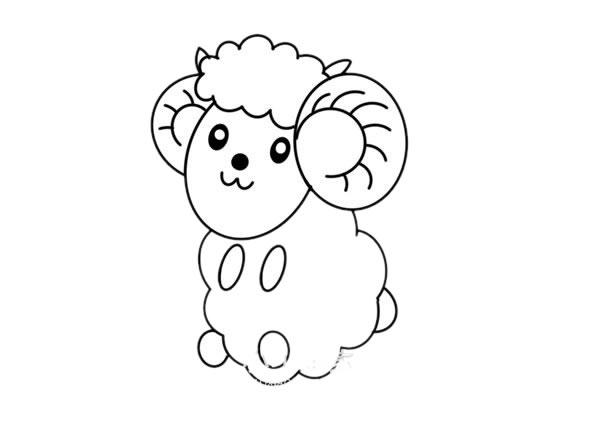 卡通彩色绵羊简笔画绘画教程 初级简笔画教程-第4张