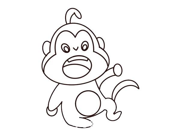 q版猴子简笔画图片 中级简笔画教程-第5张