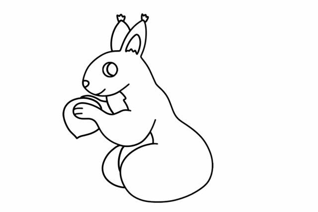 可爱的松鼠简笔画画法步骤 中级简笔画教程-第4张