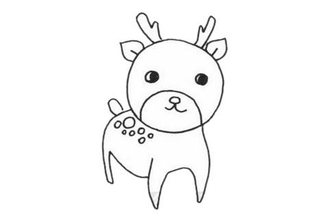 梅花鹿儿童简笔画线稿图片 中级简笔画教程-第1张