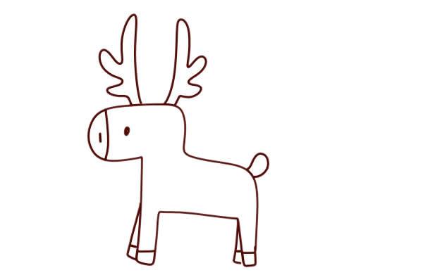 圣诞麋鹿车简笔画画法 动物-第3张