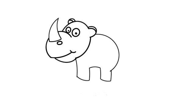 儿童画犀牛简笔画,犀牛的简单画法 中级简笔画教程-第3张