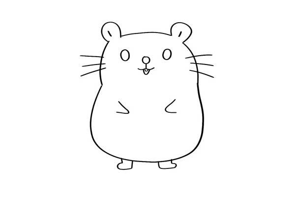 超萌可爱小仓鼠简笔画 卡通仓鼠简笔画彩色画法 中级简笔画教程-第3张