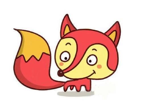 彩色可爱狐狸简笔画画法步骤步骤教程 动物-第1张