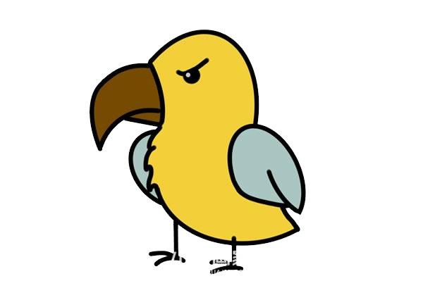 凶恶的卡通老鹰简笔画画法步骤步骤图片 动物-第1张